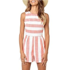 Beach striped Red Romper Jumpsuit Shorts Pockets